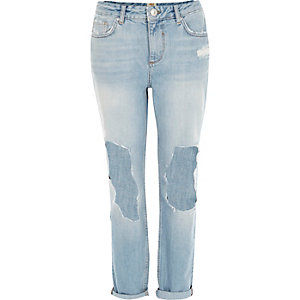 Light wash ripped ultimate boyfriend jeans
