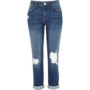 Mid wash distressed Ultimate Boyfriend jeans