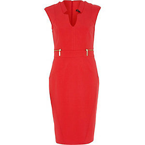 Red notch structured bodycon pencil dress
