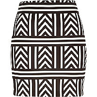 Black geometric print mini tube skirt