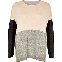 Grey colour block knitted jumper