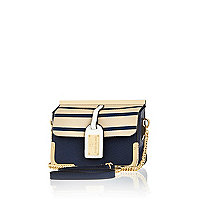 Navy luggage tag cross body bag