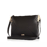 Black quilted square cross body bag