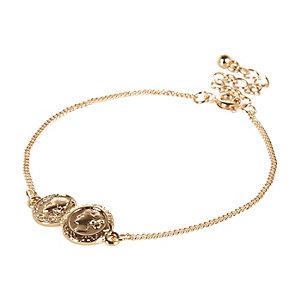 Gold tone double coin bracelet