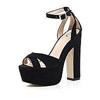 Black block heel platform sandals