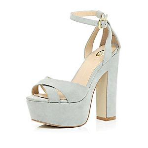Grey suede chunky block platform heels