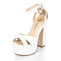 White leather chunky block platform heels