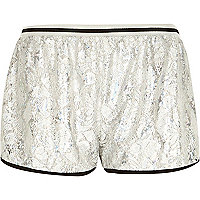 Silver foil lace runner shorts