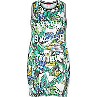 White tropical print paradise vest