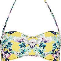 Yellow floral print balconette bikini top