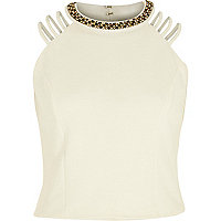 Cream embellished strappy crop top