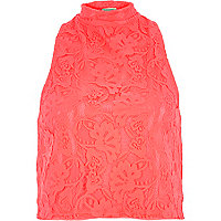 Coral lace high neck top
