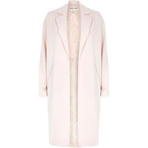 Pink lightweight half lace back duster jacket