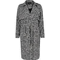 Black checked draped trench coat