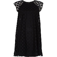 Black mesh spot smock swing dress