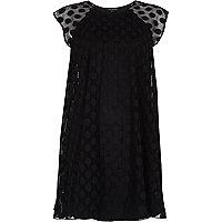 Black mesh spot smock swing dress
