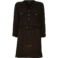 Black crepe waisted shirt dress