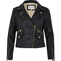 Black leather-look pockets biker jacket