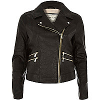 Black leather-look multi zip biker jacket