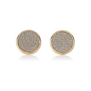 Gold tone silver glitter studs
