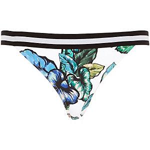 White leaf print bikini bottoms