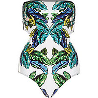 White leaf print cut out swimsuit