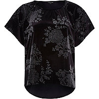 Black metallic print velvet top