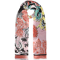 Black chiffon paisley print scarf