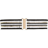 Black stripe wide elastic waist belt