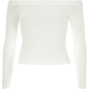 White chunky ribbed bardot top