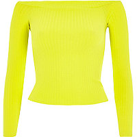 Lime chunky ribbed bardot top