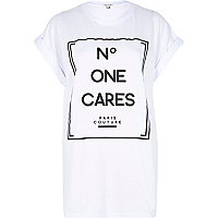 White no one cares oversized t-shirt