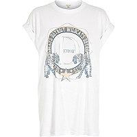 White Detroit print oversized t-shirt