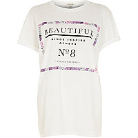 White beautiful print oversized t-shirt