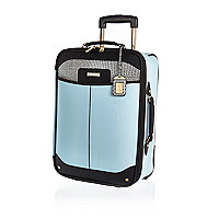 Blue split design suitcase
