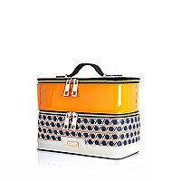 Orange geo print vanity case