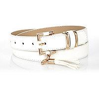 White RI tassel belt