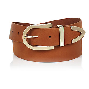 Brown leather round buckle belt