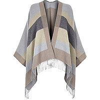 Grey stripe blanket cape