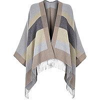 Grey stripe blanket cape