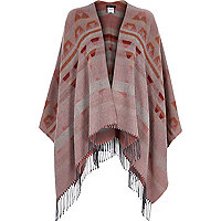 Pink Aztec print blanket cape