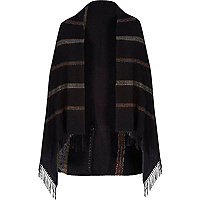 Black stripe blanket cape