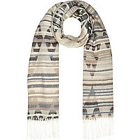 Beige Aztec print blanket scarf