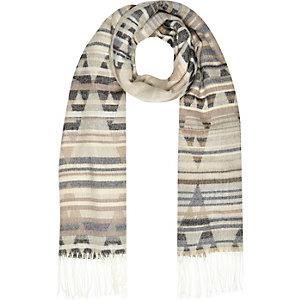 Beige print blanket scarf