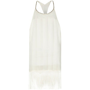 White Pacha sheer embellished fringed dress