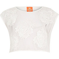 White Pacha 3D flower mesh crop top