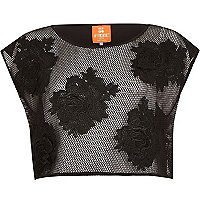 Black Pacha 3D flower mesh crop top