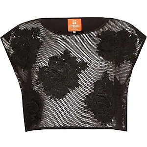 Black Pacha 3D flower mesh crop top