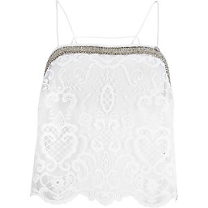 White Pacha lace embellished cami top