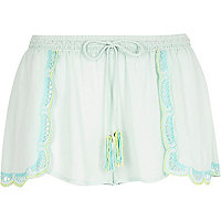 Light green embellished scallop shorts